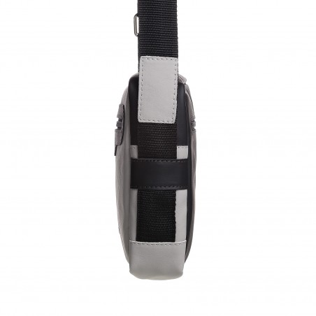 Pánska kožená crossbody kapsička, cement s čiernou napa