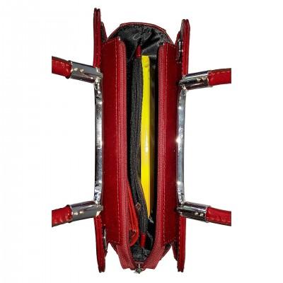 Dámska kožená kabelka, bordová so vzorom