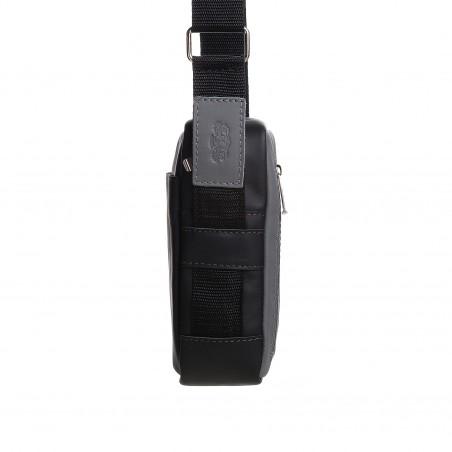 Pánska kožená crossbody kapsička, tmavošedá s čiernou napa