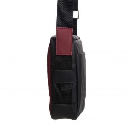 Pánska crossbody kapsička kožená, bordová s čiernou napa