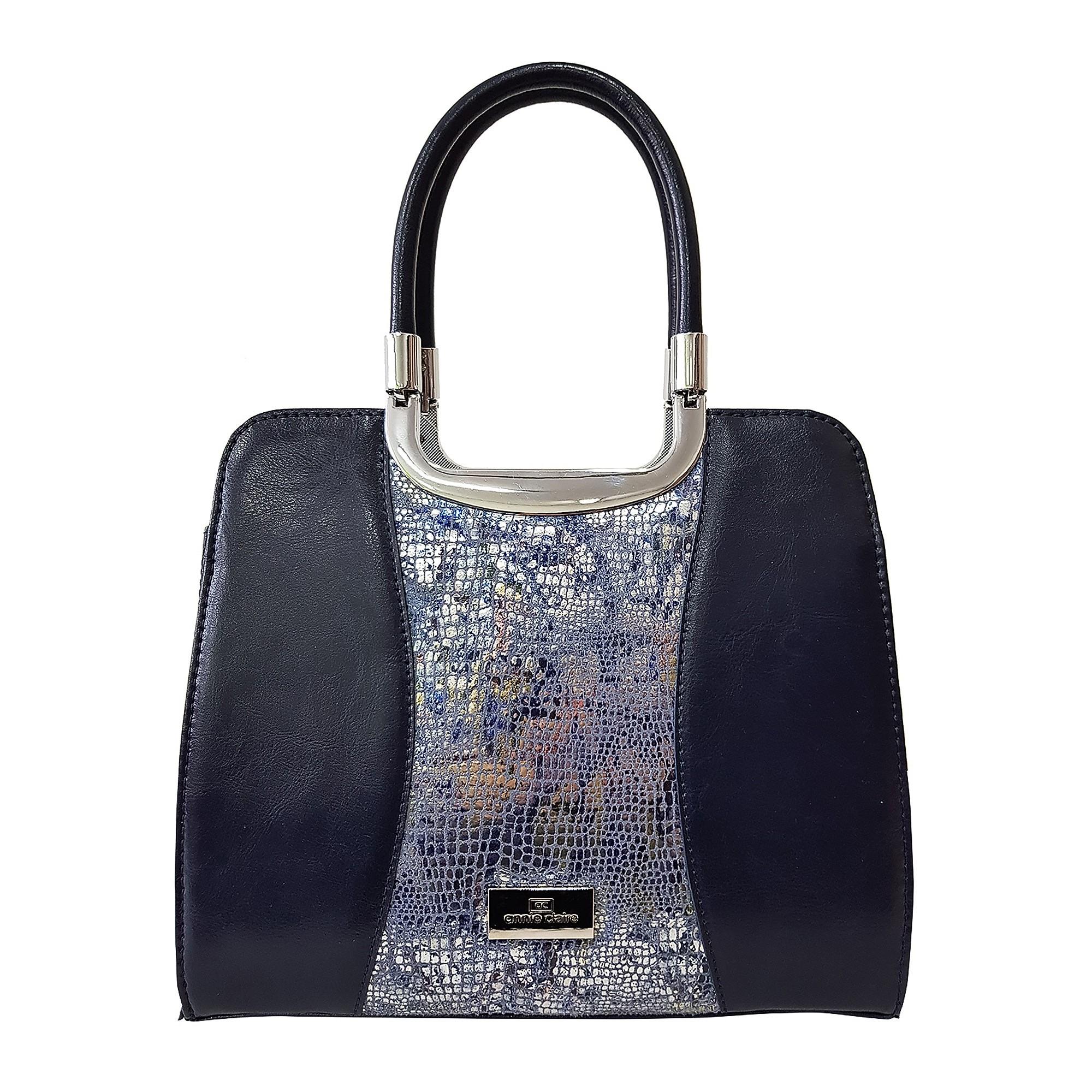 Dámska kožená kabelka, tmavomodrá so vzorom