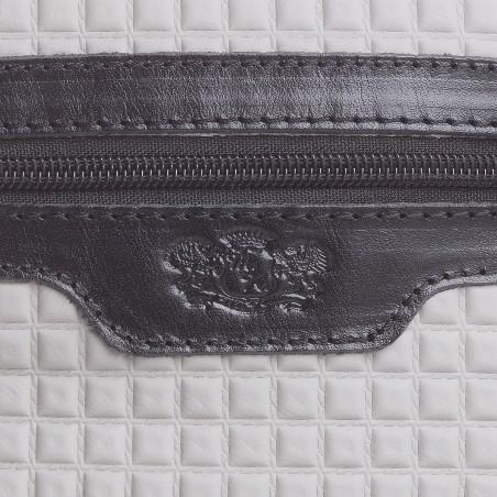 Pánska kožená crossbody kapsička, bielo-čierna napa