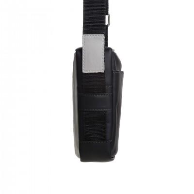 Pánska crossbody kapsička kožená, cement s čiernou napa