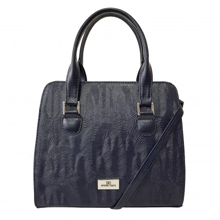 Dámska kožená kabelka, tmavomodrá