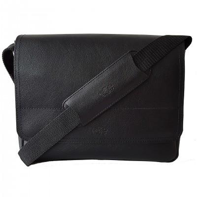 Kožená crossbody taška, čierna soft