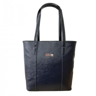 Dámska kožená kabelka, čierno-biela