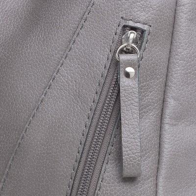Klasická syntetická dámska kabelka, béžová s tmavošedou