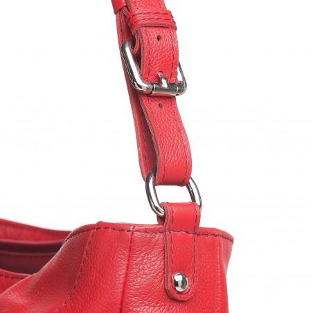 Kožená kabelka na rameno, červená