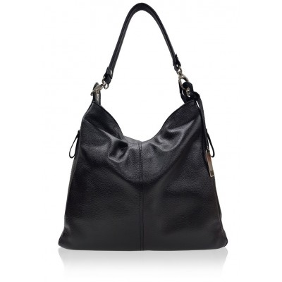 Kožená kabelka na rameno, čierna