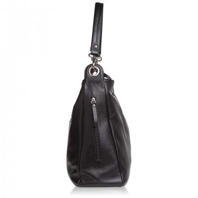 Dámska kožená kabelka cez rameno, cement napa