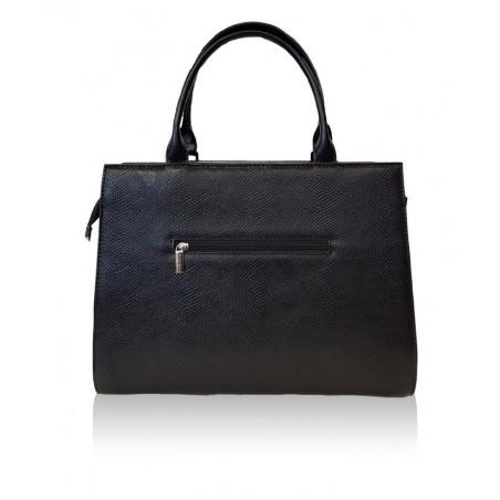 Dámska elegantná kabelka, čierna s potlačou