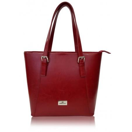 Elegantná kožená kabelka, červená