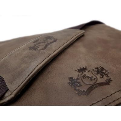 Pánska kožená crossbody kapsička, slonia kosť s čiernou napa