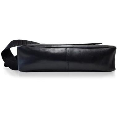 Kožená crossbody taška, čierna trieslo