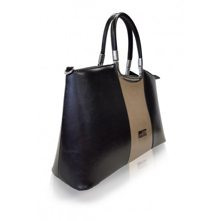 Dámska kožená kabelka, čierna, cappuccino