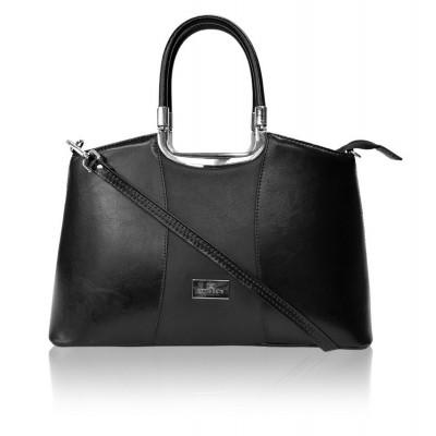 Dámska kožená kabelka, čierna so vzorom