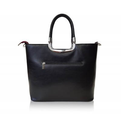 Dámska kožená kabelka, bordovo-čierna