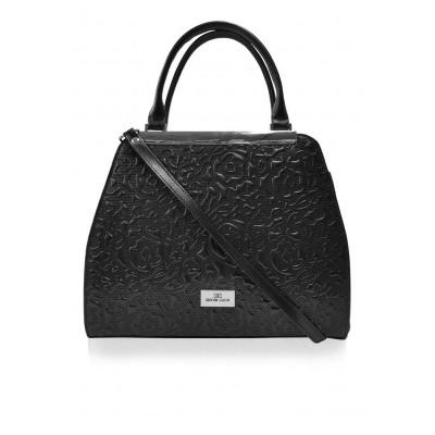 Dámska kožená kabelka, čierna s potlačou