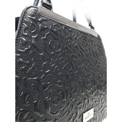 Kožená kabelka na rameno, šedá