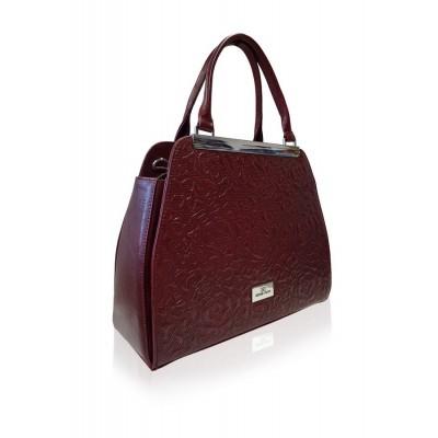 Dámska kožená kabelka, bordová s potlačou
