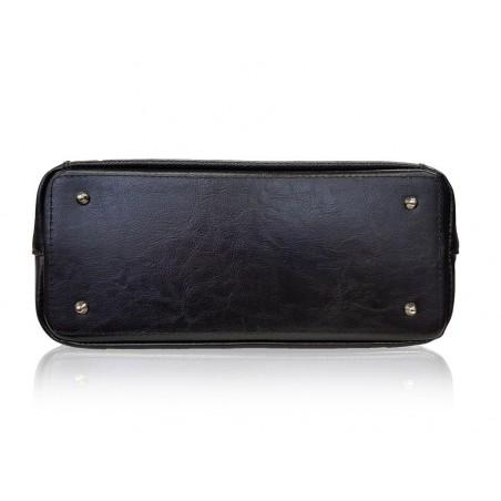 Elegantná kožená kabelka, čierna
