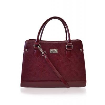 Dámska kožená kabelka, bordová 3D potlač