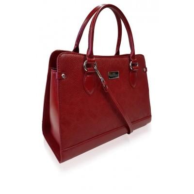 Dámska kožená kabelka, červená 3D potlač