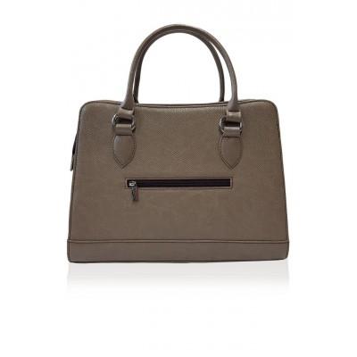 Dámska kožená kabelka, béžová 3D potlač