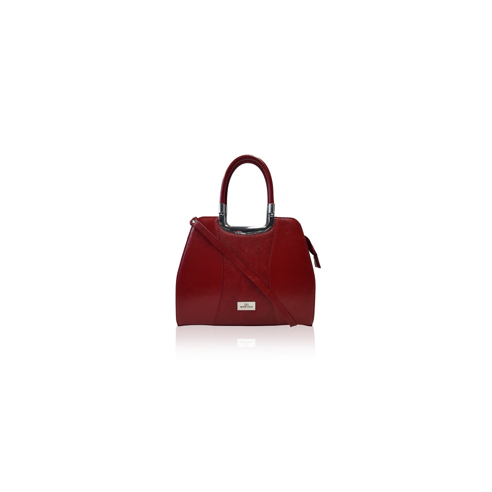 Dámska kožená kabelka, červená