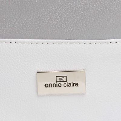 Kožená kabelka na rameno, šedo-biela