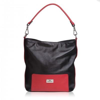 Kožená kabelka na rameno, čierno-červená