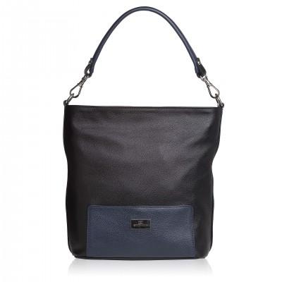 Kožená kabelka na rameno, čierno- modrá