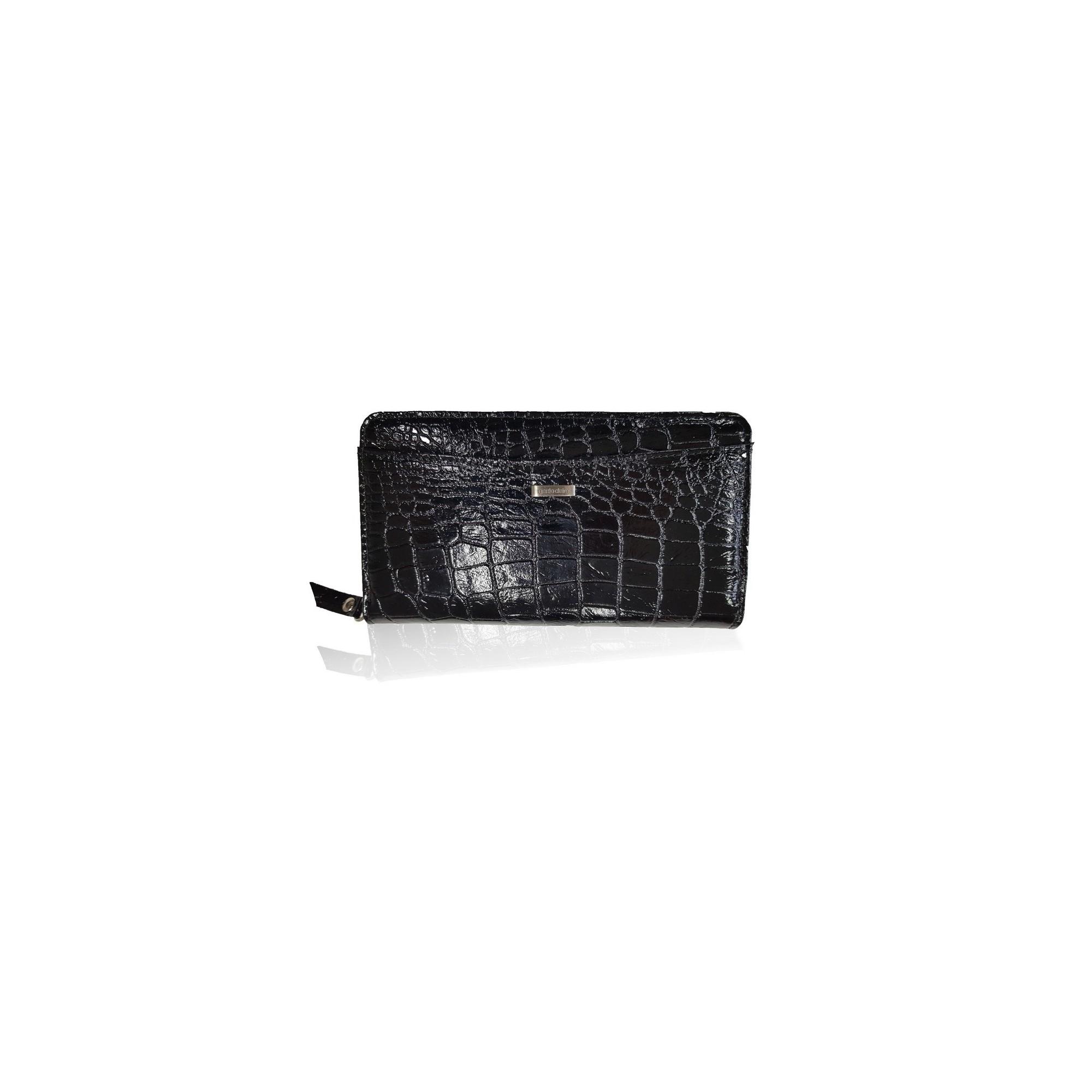 Dámska peňaženka, kroko, čierny lak