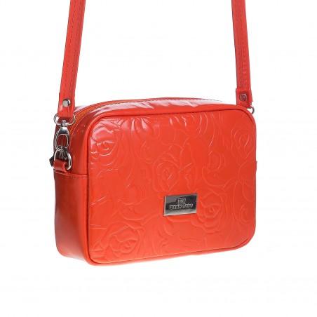 Dámska kožená crossbody kapsička, oranžová s potlačou