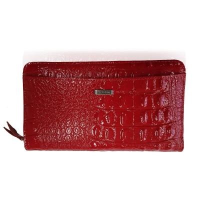 Dámska peňaženka,3D kroko, červený lak