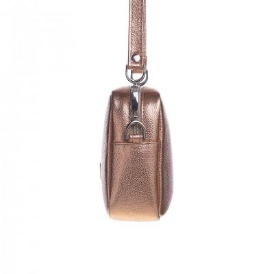 Dámska kožená crossbody kapsička, medená